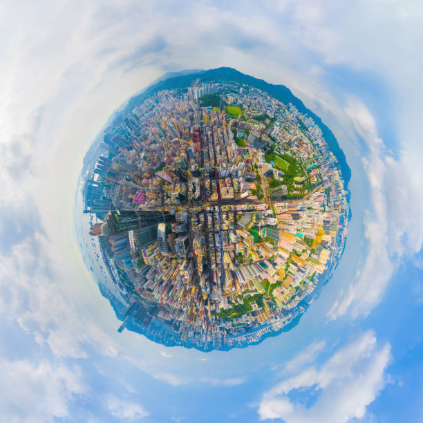 Little planet 360 degree sphere birds eye view. Panoramic view of aerial view of Hong Kong Downtown. Financial district and business centers in technology smart urban city. Skyscraper buildings. stock photo