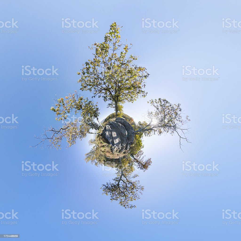Little Planet Covered In Trees royalty-free stock photo