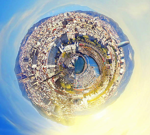 little planet panorama of Barcelona, Spain at fantasy sunset - foto de stock