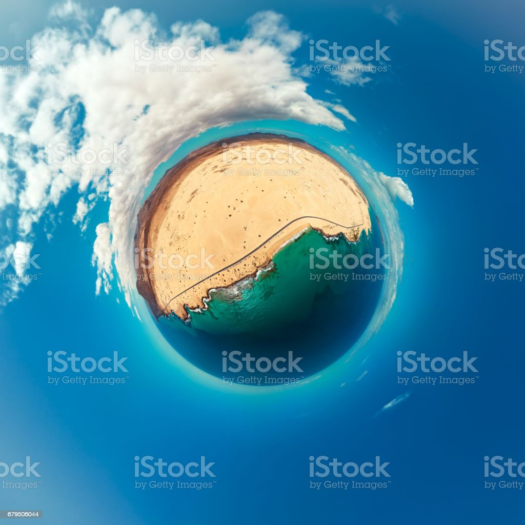 Little Planet panorama of Corralejo Natural Park beaches, Fuerteventura, Canary Islands royalty-free stock photo
