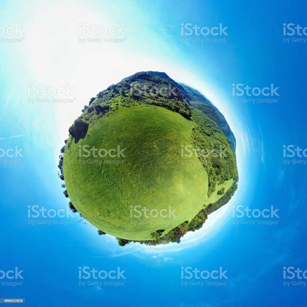 Little Planet panorama of green hills landscape stock photo
