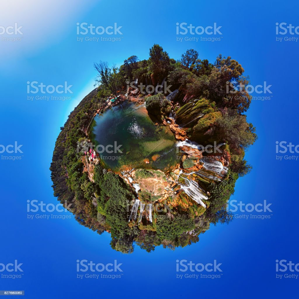 Little Planet panorama of Kravica waterfall, Bosnia and Herzegovina. stock photo