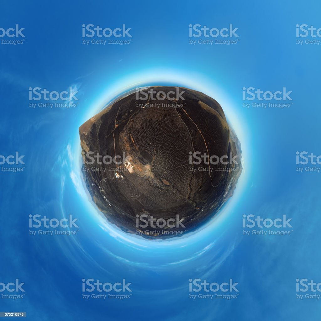 Little Planet panorama of Wine valley of La Geria, Lanzarote, Canary islands stock photo