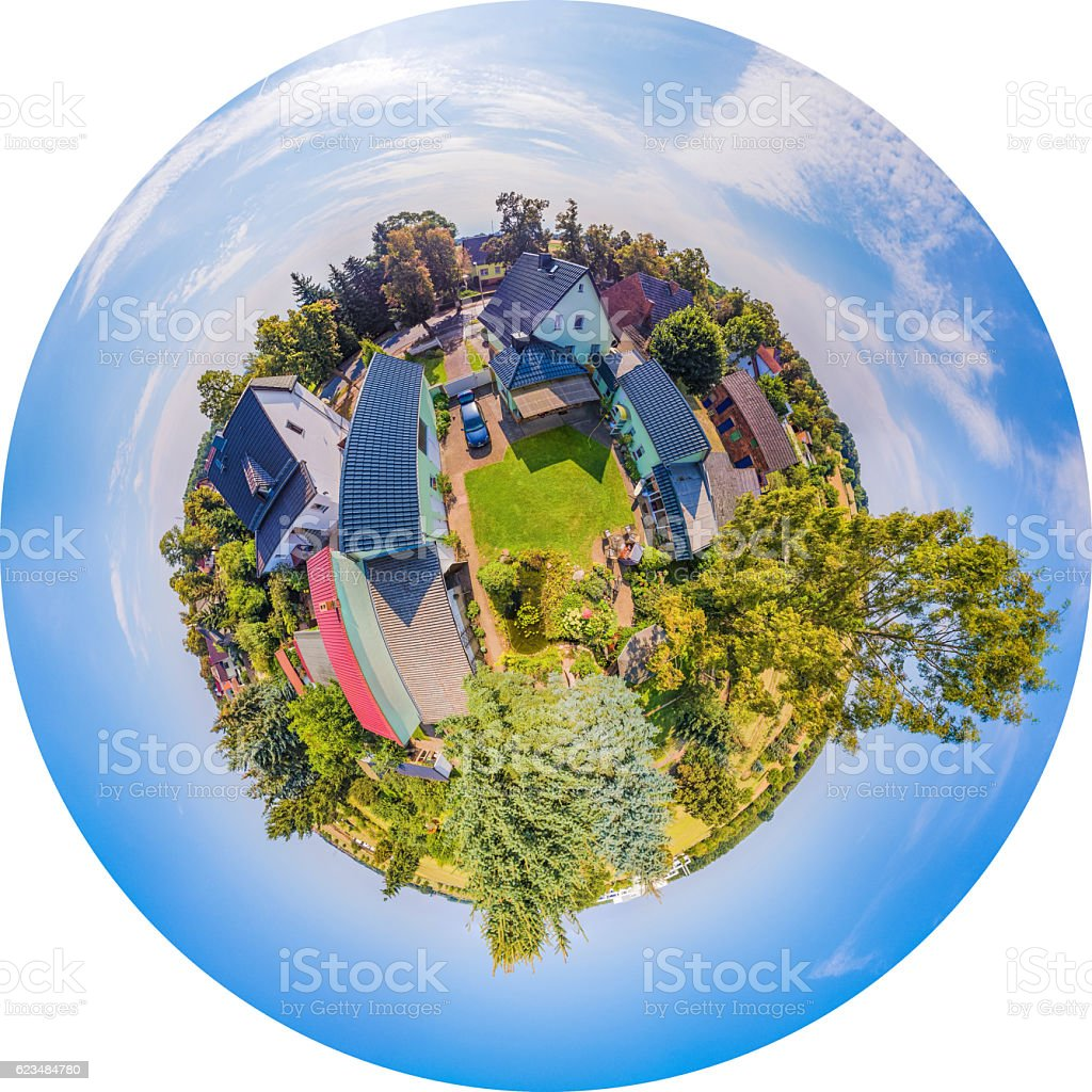 Little Planet - Polar Panorama of Human Settlement in Germany stock photo