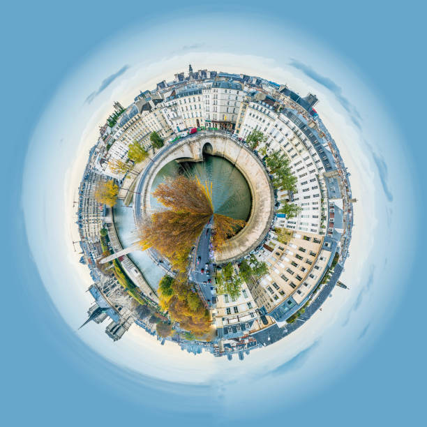Little planet view of Panorama of Notre-dame-de-Paris and Seine river in Paris in autumn Little planet view of Panorama of Notre-dame-de-Paris and Seine river in Paris in autumn fish eye lens stock pictures, royalty-free photos & images