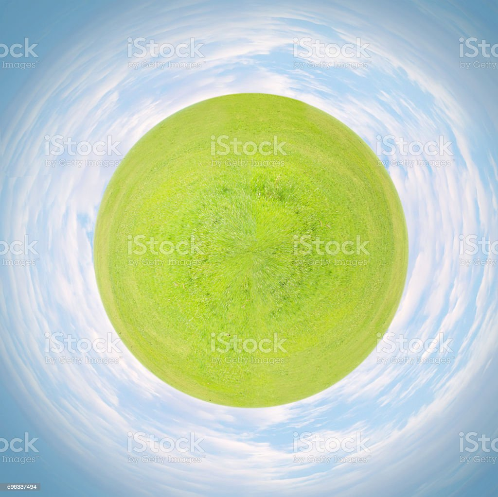 Little planet with green grass royalty-free stock photo