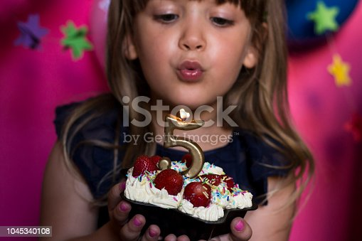 istock Little princess birthday party. Make a wish concept. Anniversary, happiness, carefree childhood. 1045340108