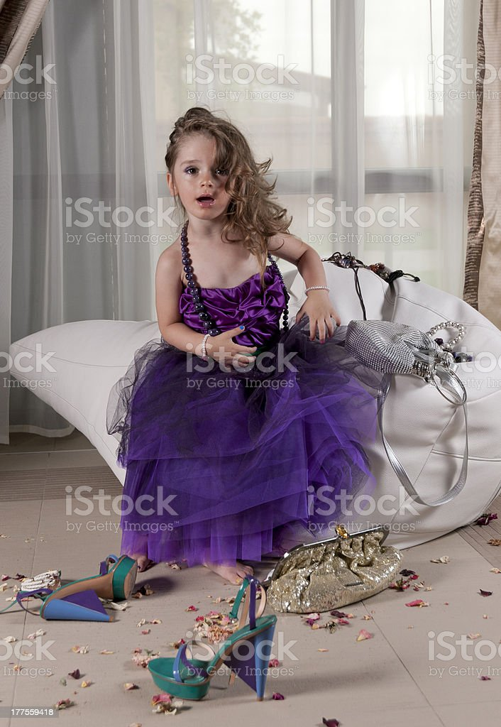 little princess playing with fashion accessories royalty-free stock photo