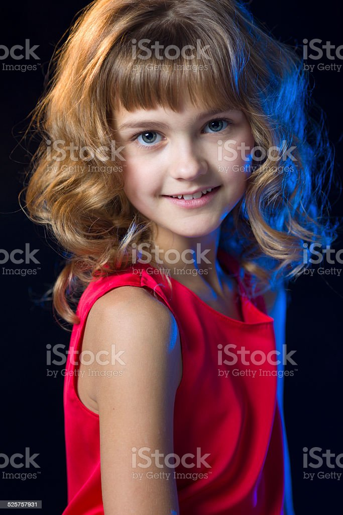 Little princess portrait with curly hairstyle stock photo