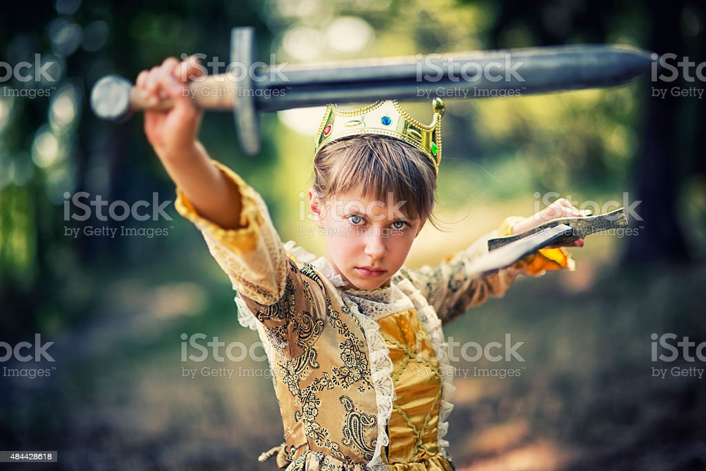 Little princess that does not need saving stock photo