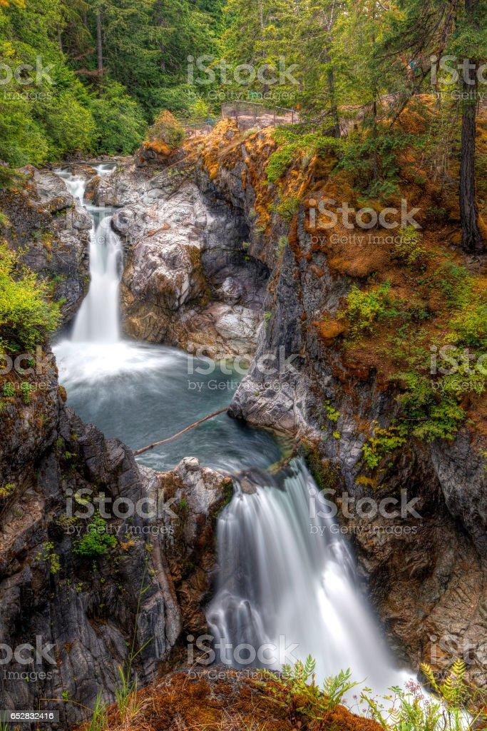 Little Qualicum Falls on Vancouver Island, Canada stock photo