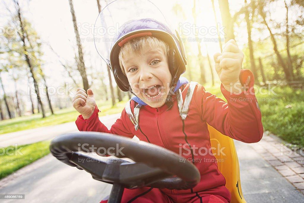 Little racer winning stock photo