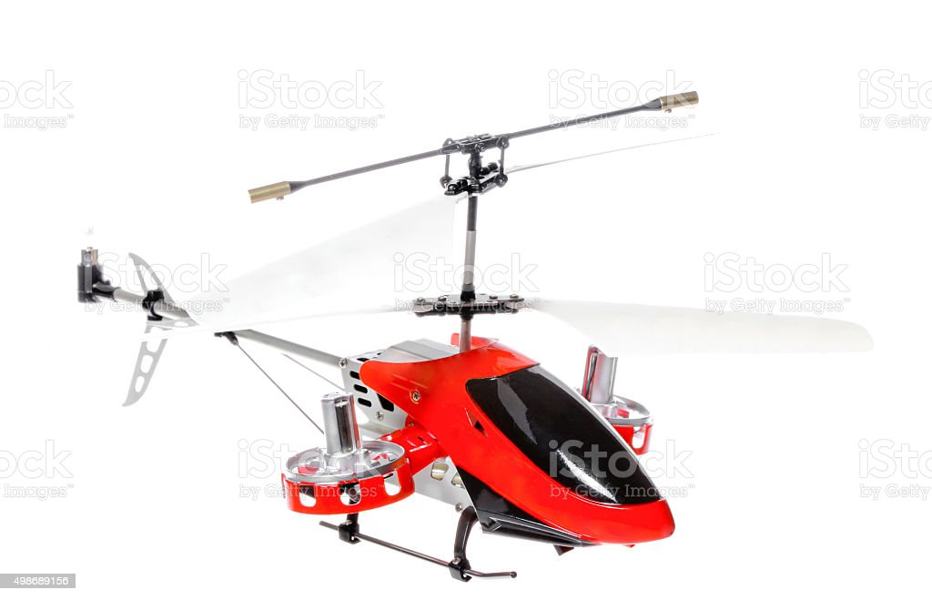 Little RC helicopter on white background stock photo