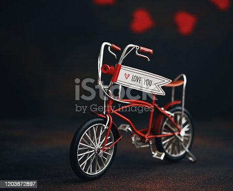 Little red bike with I Love You Message. Valentine's Day Still Life