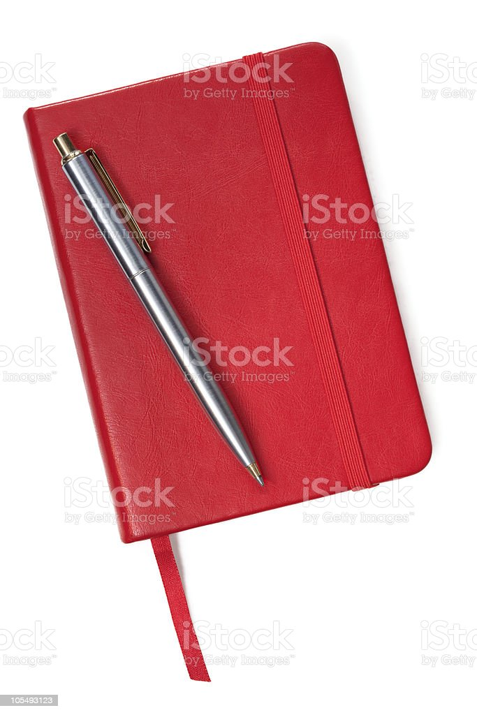 Little Red Book and Pen stock photo