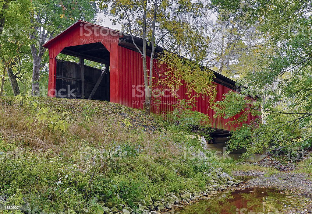 Little Red Covered Bridge stock photo