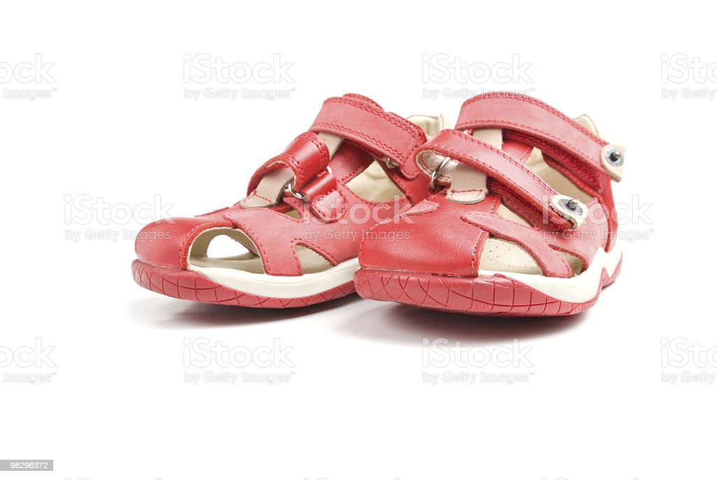 Little red kids shoes. royalty-free stock photo