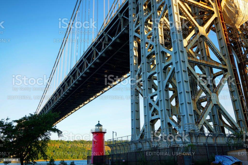 Little Red Lighthouse. George Washington Bridge. stock photo