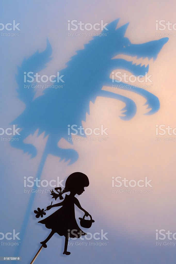 Little Red Riding Hood and Big Bad Wolf shadow theater stock photo