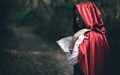 Little red riding hood gets lost in a forest alone.