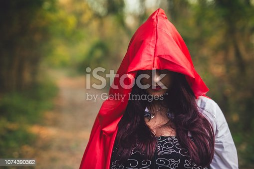 Woman dressed as little red riding hood posing in a forest