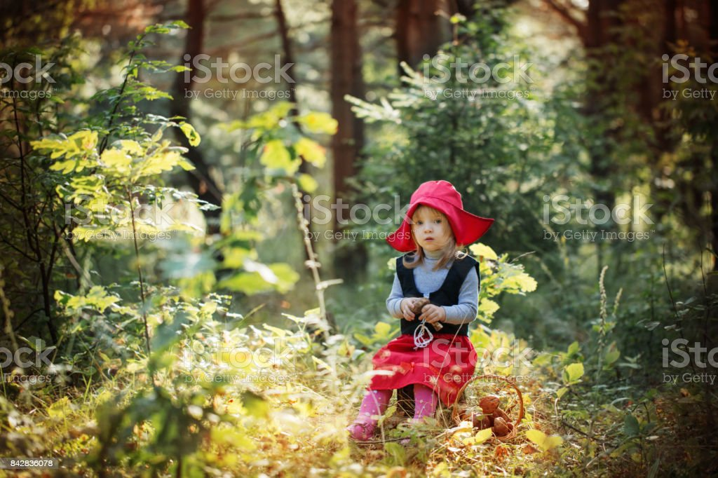 Caperucita Roja En El Bosque Foto De Stock Y Mas Banco De Imagenes De Aire Libre Istock