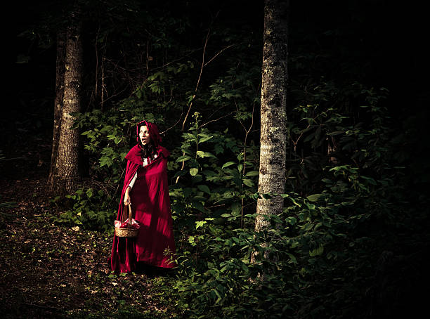 little red riding hood in den wald verloren - rotkäppchen kostüm stock-fotos und bilder