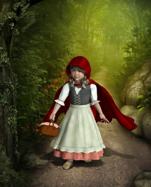 little red riding hood zu fuß durch den wald - die brüder grimm stock-fotos und bilder