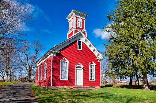 Constructed in 1873, the South Branch School House in Branchburg, New Jersey, is a one-room building in the Victorian-Italianate style of architecture.