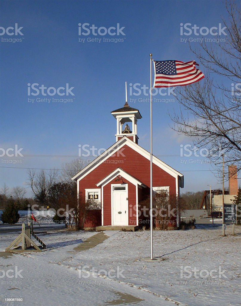 EDUCATION, Little red schoolhouse - front view stock photo