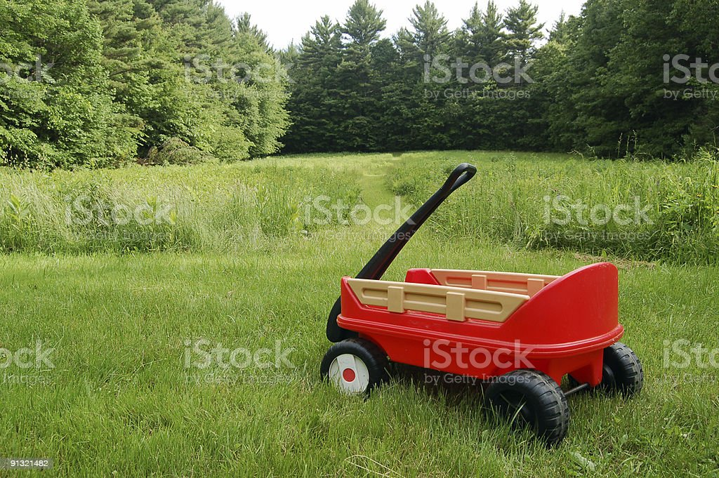 Little Red Wagon stock photo