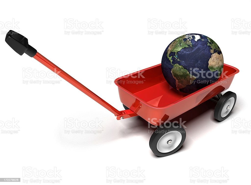 Little Red Wagon with Globe royalty-free stock photo