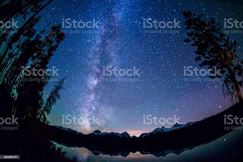 Little Redfish Lake at night stock photo