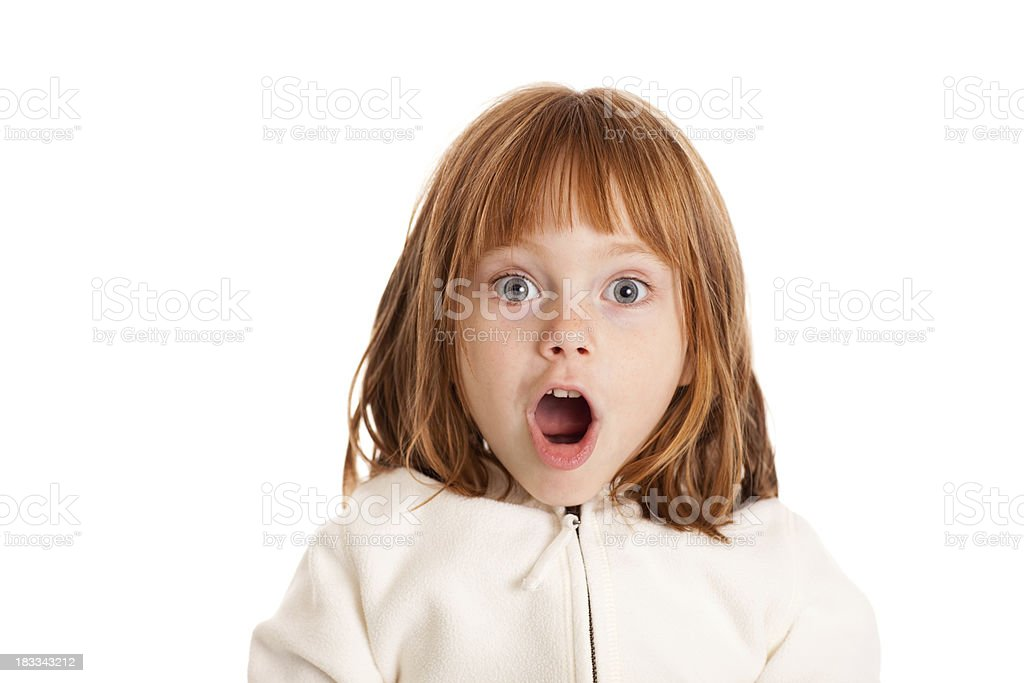 Little, Red-Haired Girl with Surprised Look on White stock photo