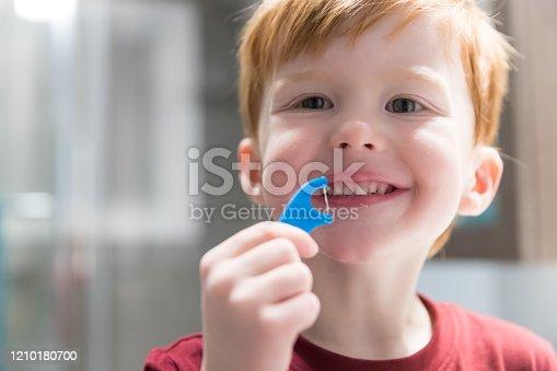 948443044 istock photo Little Redhead Boy Flossing His Teeth 1210180700