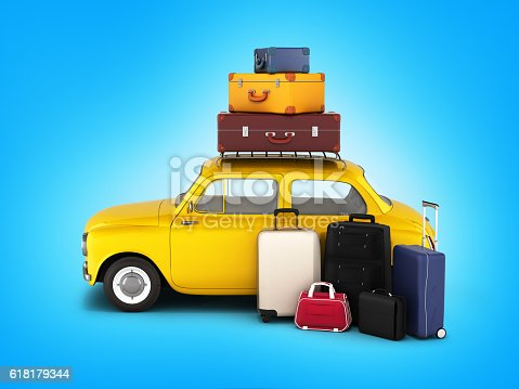istock Little retro car with suitcases and bags, travel concept 618179344