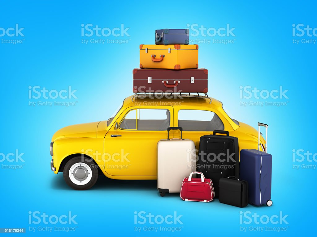 Little retro car with suitcases and bags, travel concept – Foto