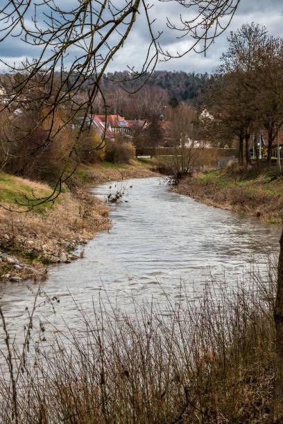 Kleiner Fluss durch die grüne Landschaft entlang des Dorfes – Foto
