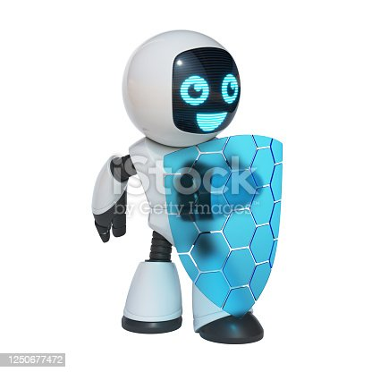 istock Little robot holding transparent shield, data security concept, 3d rendering 1250677472