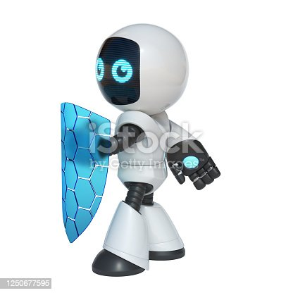 istock Little robot holding transparent shield, data security concept, 3d rendering 1250677595