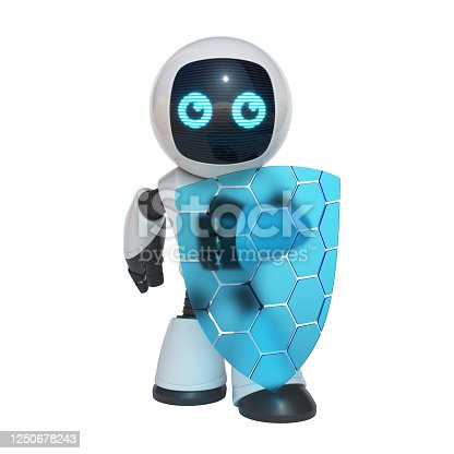 istock Little robot holding transparent shield, data security concept, 3d rendering 1250678243