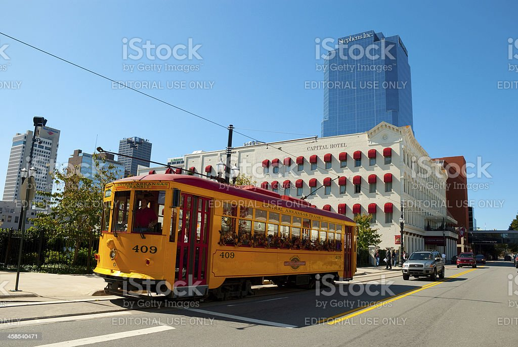 Little Rock Downtown and Streetcar stock photo
