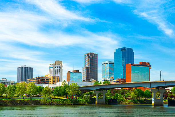 Little Rock downtown skyline with the Arkansas River stock photo