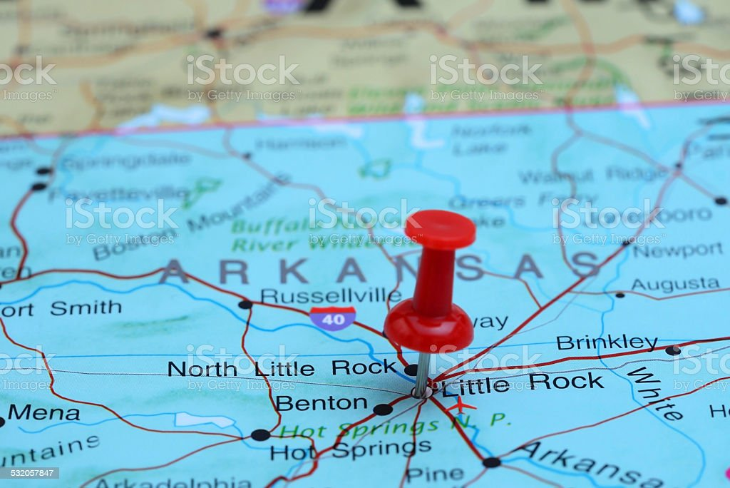 Little Rock pinned on a map of USA stock photo