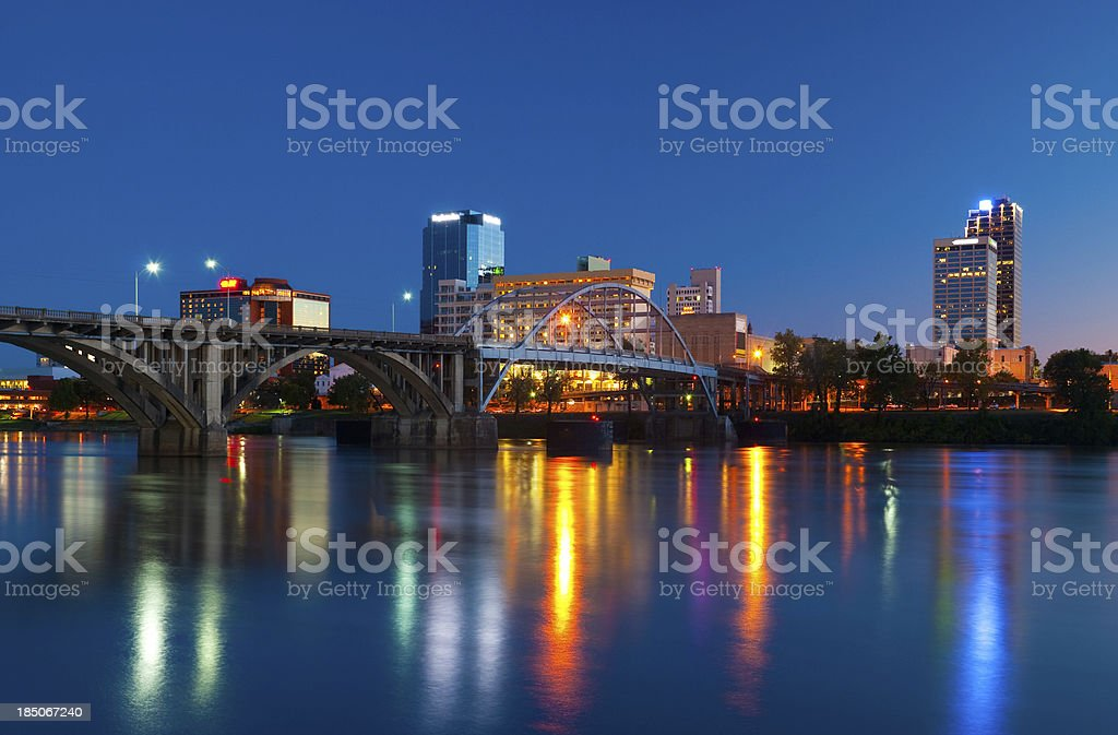Little Rock skyline at dusk stock photo