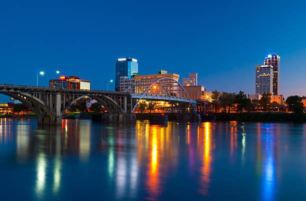 Little Rock skyline at dusk stock photo