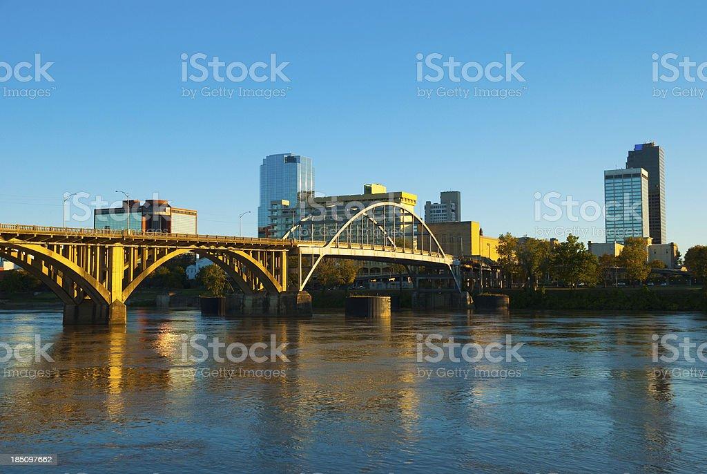 Little Rock skyline, river, and bridge stock photo
