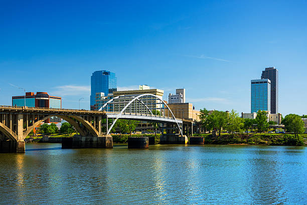 Little Rock skyline with Broadway Bridge and the Arkansas River stock photo