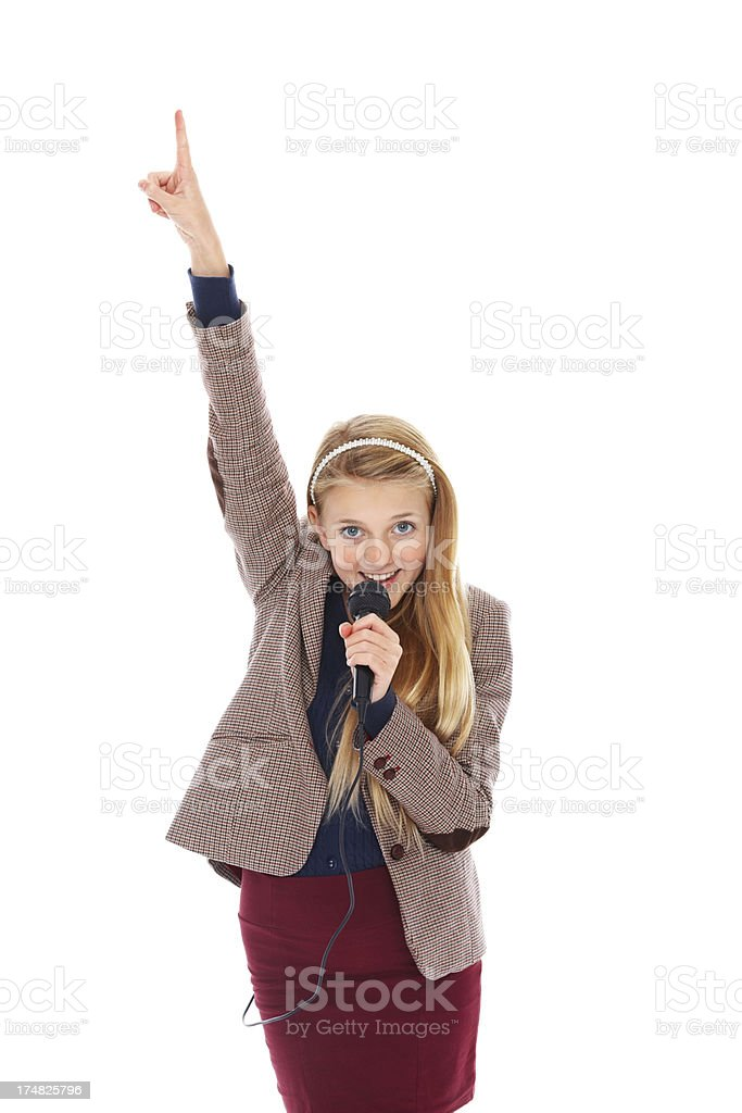 Little rock star singing against white royalty-free stock photo