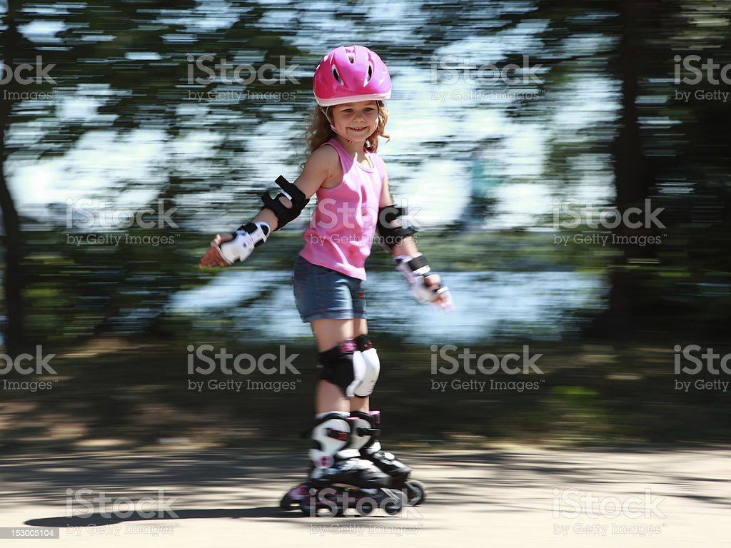 Little rollerskater stock photo
